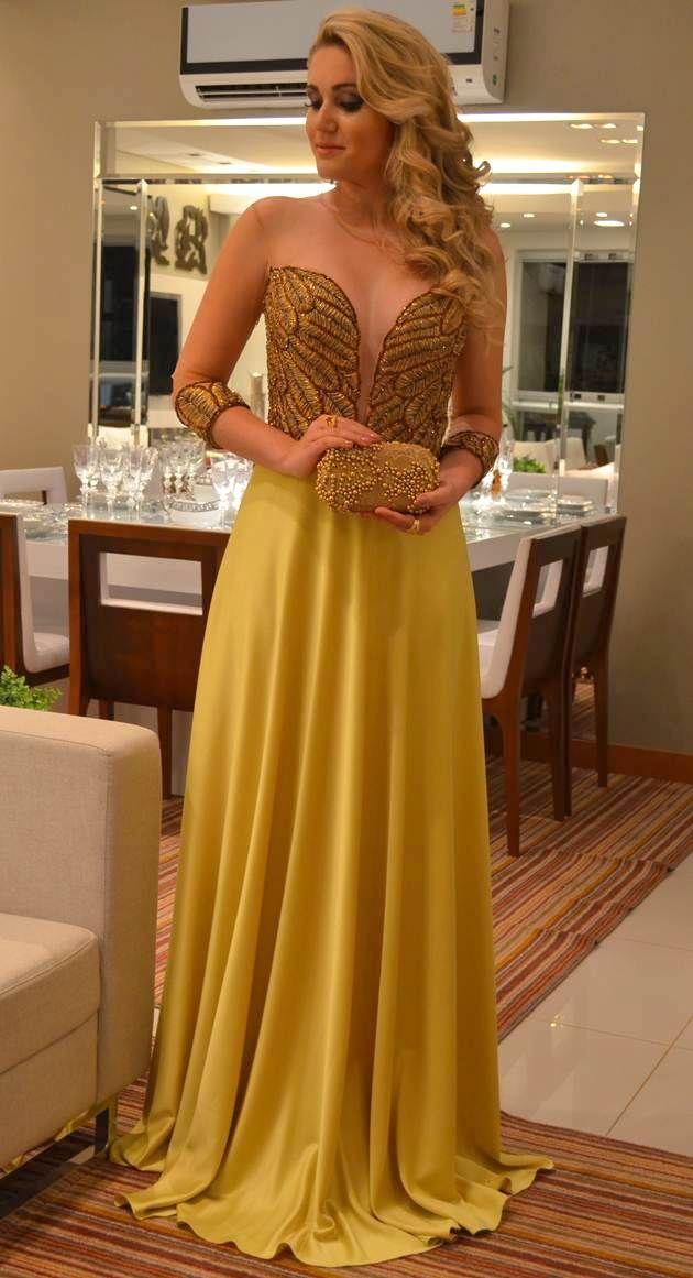 #vestido #festa #amarelo Tutorial Alana Santos Blogger  Dress Vestido de festa https://www.youtube.com/user/AlanaSantosBlogger/videos