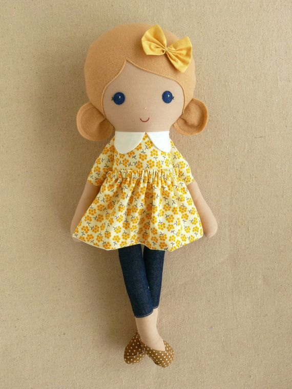 Fabric Doll Rag Doll Blond Haired Girl in Yellow by rovingovine