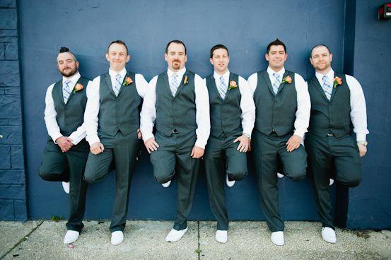 #groomsmen photo by Kate Connolly Photography #groom #groomsmen #grey #weddings #vests #sanuk sidewalk surfer shoes