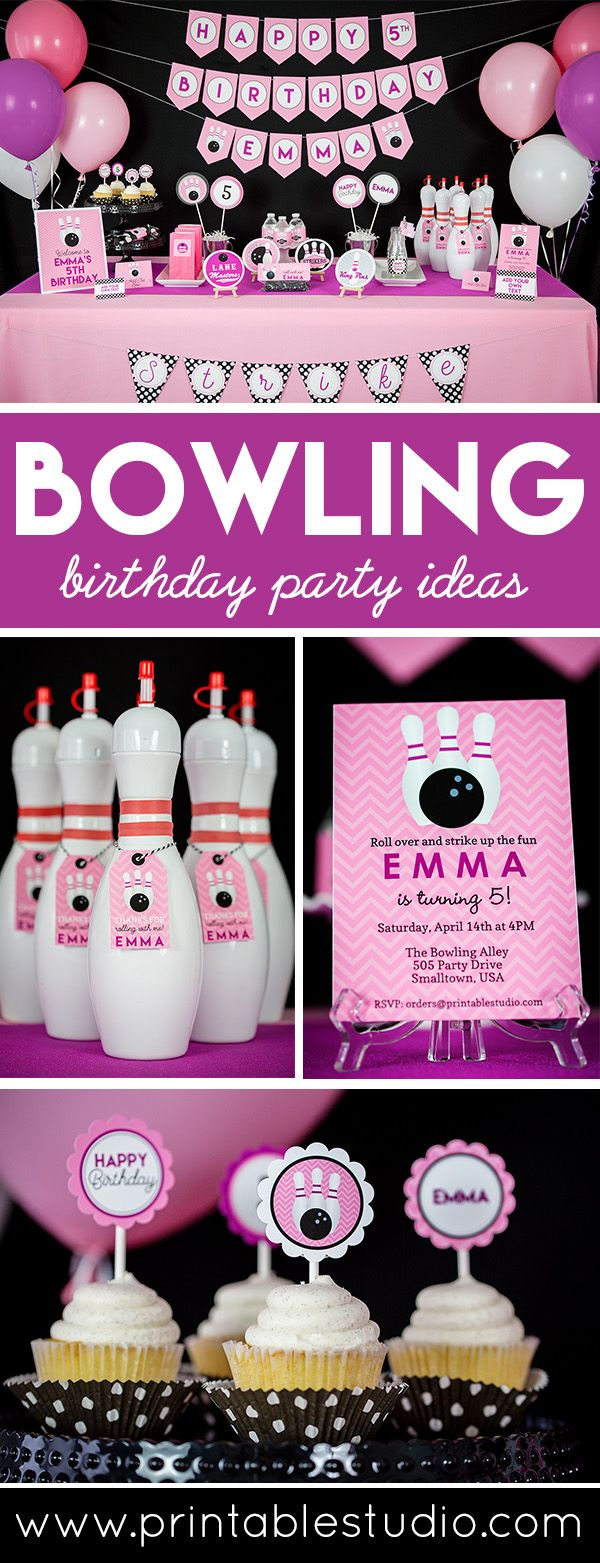 Pink Bowling Party Treat Bag Topper INSTANT DOWNLOAD Bowling Birthday Favor Bag by Printable Studio