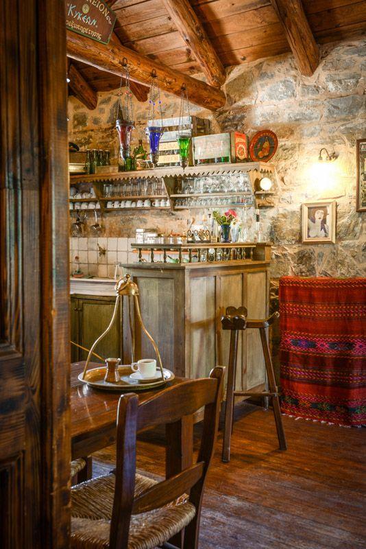 Traditional Kafenion at Enagron Ecotourism Village in Axos Rethymnon Crete - EcoTourism Hotel Facilities Crete: greece ecotourism, travel crete eco, greece axos crete, natural environment rethymno, green hotel facilities