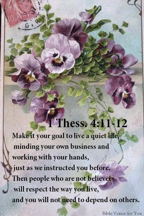 1 Tess. 4:11.12   Make it your goal to live a quiet life minding your own business & working with your hands, just as we instructed you before. Then people who are not believers will respect the way you live, & you will not need to depend on others.