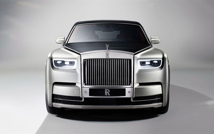 Descargar fondos de pantalla Rolls-Royce Phantom, 2017, vista de Frente, 4k, coches de lujo, plata Phantom de Rolls-Royce