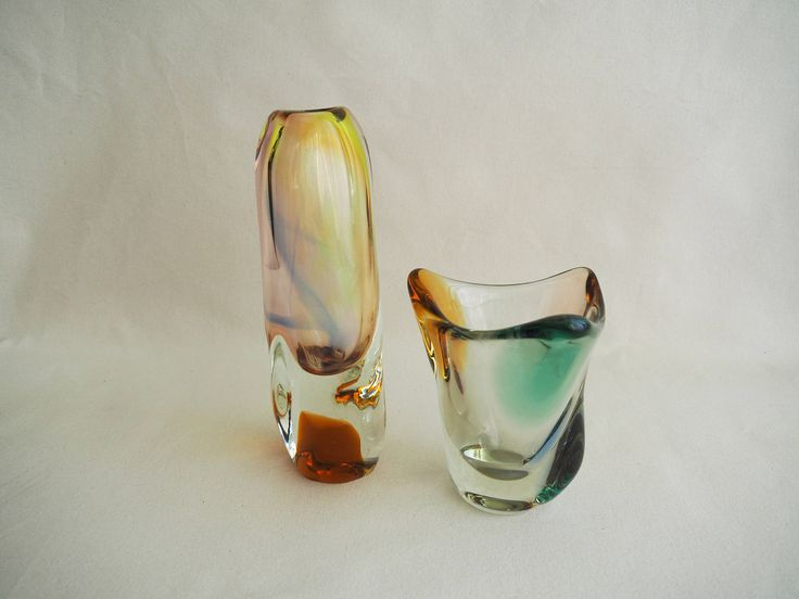 """Set of glass Vase designed by Josef Hospodka and Bowl from famous collection """"Rhapsody"""" designed by Frantisek Zemek.  Made from hotworked glass in Czechoslovakia. Vase is made in glassworks in Novy Bor. Bowl is made in glassworks in Mstisov in 1956."""