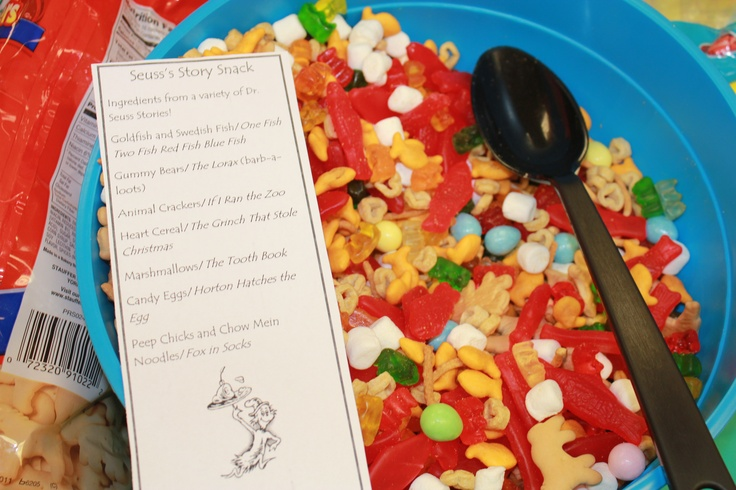 Seuss's Story Snack! Ingredients from a variety of Dr. Seuss Stories! Goldfish and Swedish Fish/One Fish Two Fish Red Fish Blue Fish; Gummy Bears/The Lorax; Animal Crackers/If I Ran the Zoo; Heart Cereal/The Grinch That Stole Christmas    Marshmallows/The Tooth Book; Candy Eggs/Horton Hatches the Egg; Peep Chicks and Chow Mein Noodles/Fox in Socks