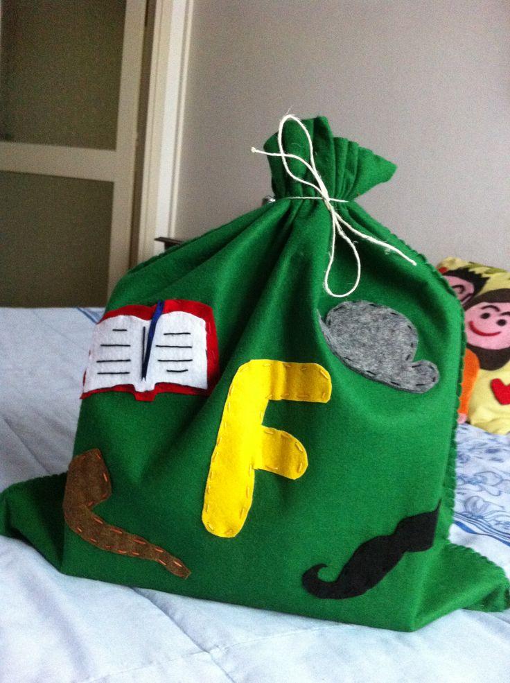 Sacco per regali di Natale con Iniziale ( F )