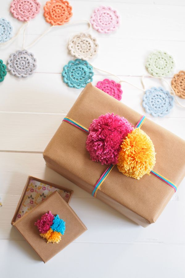 Gift wrapping ideas yarn and pom pom | final2 | Mollie Makes// love the crotchet string in the background!