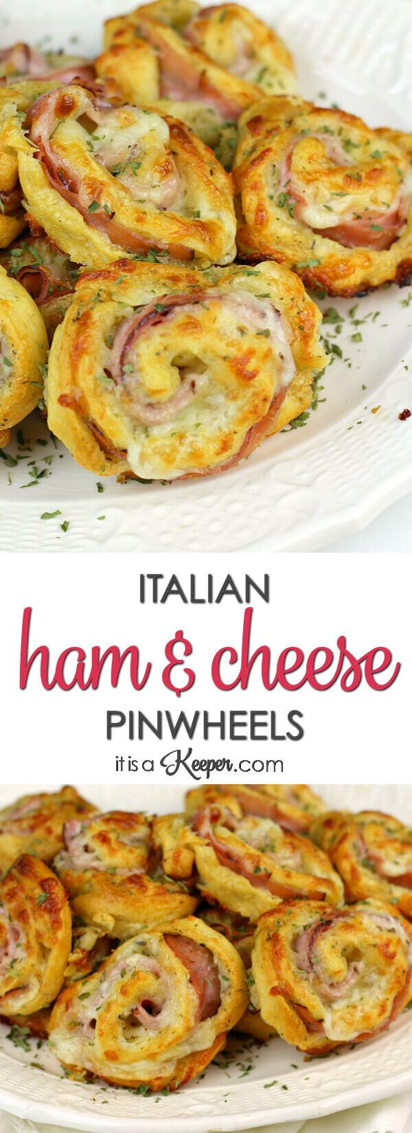 Italian Ham and Cheese Pinwheels - this easy recipe is perfect for a party or an easy meal
