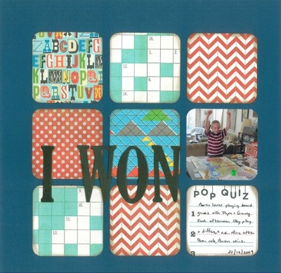 2009-12-20 I Won!  Layout for Scrapbook Challenges SCSS#12
