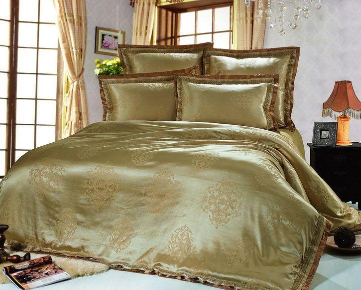 Роскошное шелковое постельное белье, жаккардовое, жаккардовый шелк, Kingsilk арт. sm-20.  Оливкового цвета. Размеры, описание, характеристики, низкие цены, скидки, недорого, доставка.