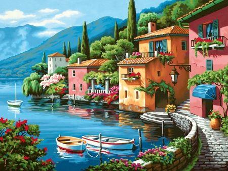 Lakeside village #sea_landscape_painting
