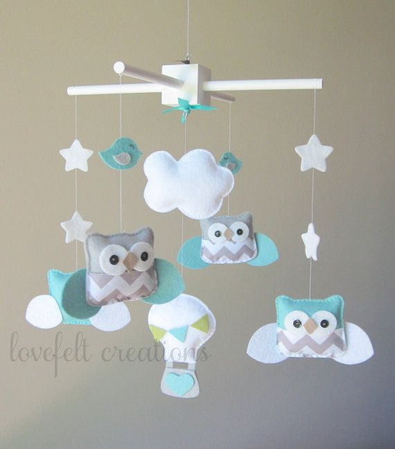 Baby Mobile - Owl Mobile - Aqua and Gray Mobile - Hot air balloon mobile - Pick your colors :) sur Etsy, 102,86 €