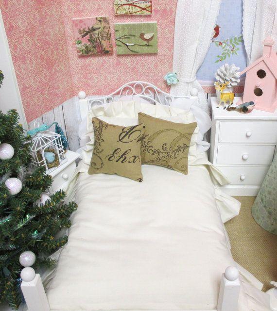 """Трепал крем Кукла комплект одеяла с подушками 2 французский скрипт-18"""" АГ куклы постельные принадлежности"""