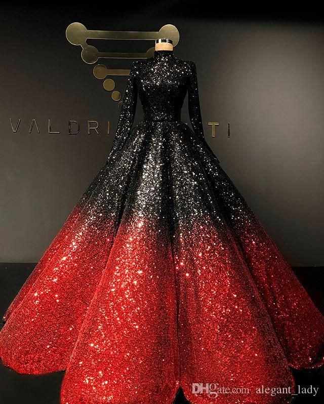 Two Tone Sequins Sparkly Evening Dresses 2020 High Neck Long Sleeve Puffy Skirt Muslim Arabic Luxury Ball Gown Prom Dress Casual Dresses Gowns From Alegant Lady Gowns Ball Gowns Wedding Dress Fabrics