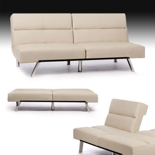 NEG Design Sofa/Schlafsofa Leder Schlafcouch Klappsofa Gäste-Liege Couch beige