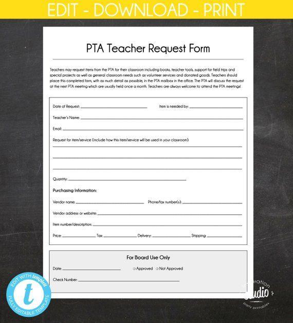 Teacher Request Form Pta Ptsa Pto Printable File 8 5 X 11