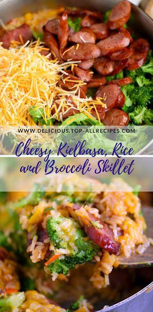 Cheesy Kielbasa, Rice and Broccoli Skillet | Easy All Recipes
