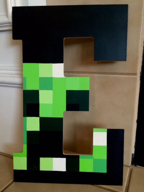 Minecraft-Inspired Letters by MinecraftingMama on Etsy