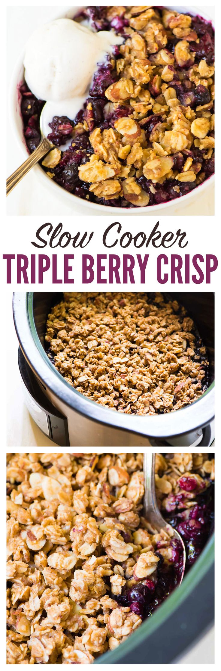Slow Cooker Triple Berry Crisp – recipe works with fresh or frozen berries so you can enjoy summer fruit year round! Use any mix of blueberries, raspberries, or strawberries. Made with maple syrup and whole grains, this healthy fruit crisp cooks right in the crock pot and can be made gluten free or vegan. Enjoy it for dessert with whipped cream or for breakfast with yogurt. Recipe at wellplated.com   @wellplated