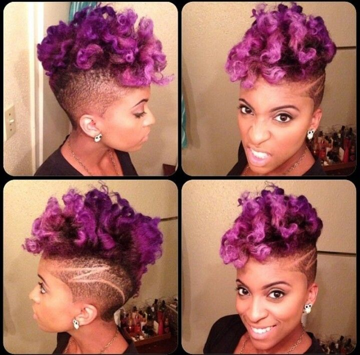 Curly Natural Purple Hair Short Women S Cut Design