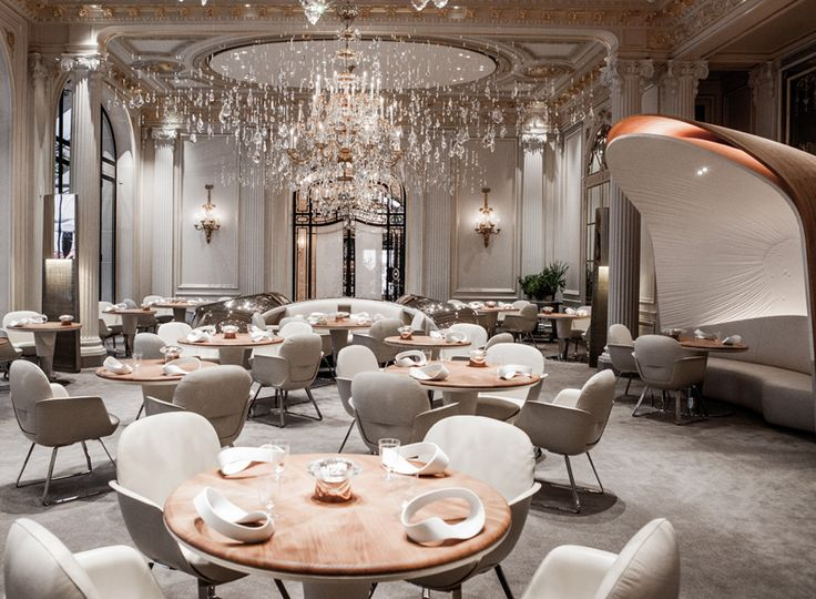 Design studio Jouin Manku have designed a new look for the restauarant at the Hotel Plaza Athénée, located in Paris, France.