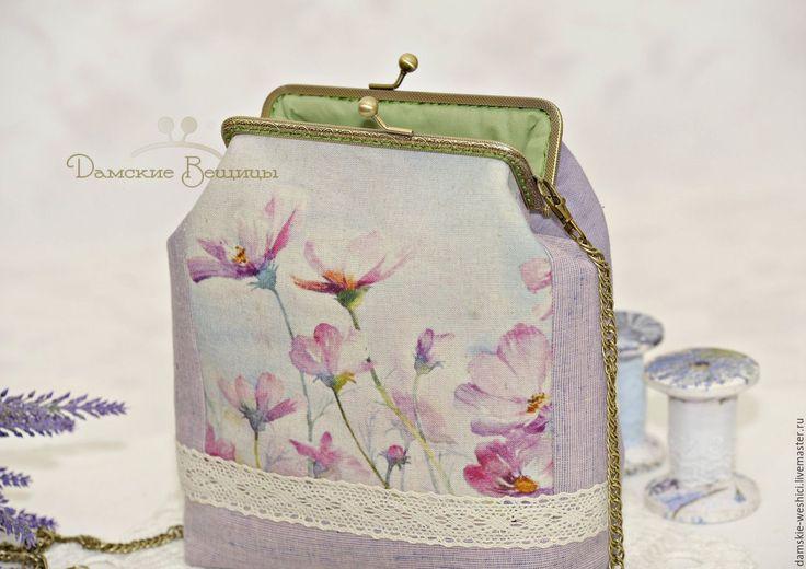 """Купить Сумка с фермуаром женская """"Космея"""" - цветочный, подарок девушке, бледно-сиреневый, сумочка"""