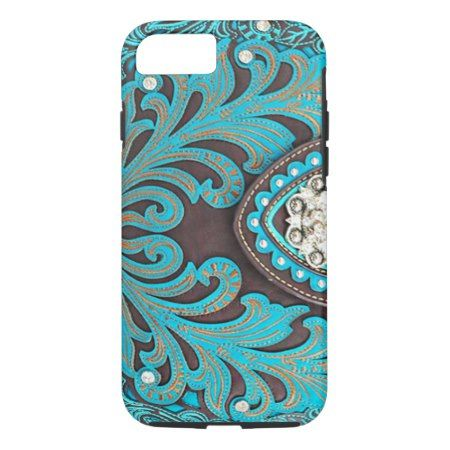 Turquoise Tooled Floral Leather Bling Diamond Prin iPhone 7 Case - click/tap to personalize and buy