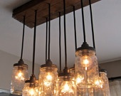 Handcrafted Mason Jar Pendant Chandelier  w/ Rustic Vintage Style Wood Crate Canopy. $599.00, via Etsy.
