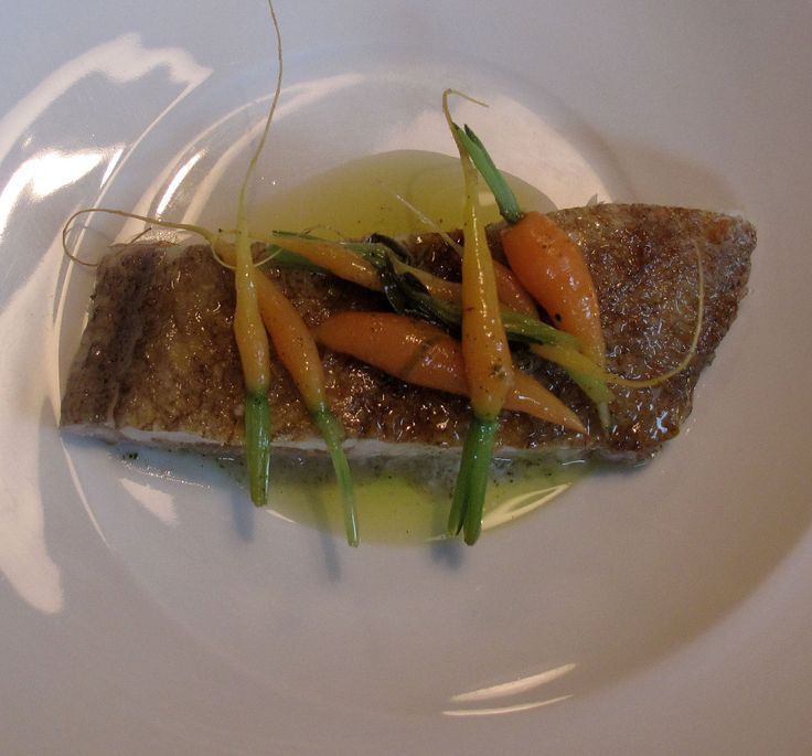 MEGRIM STUFFED WITH VEGETABLE PEARLS and pickled herbs. Small sautéed carrots.June 2010. Photo: N. Moropoulos