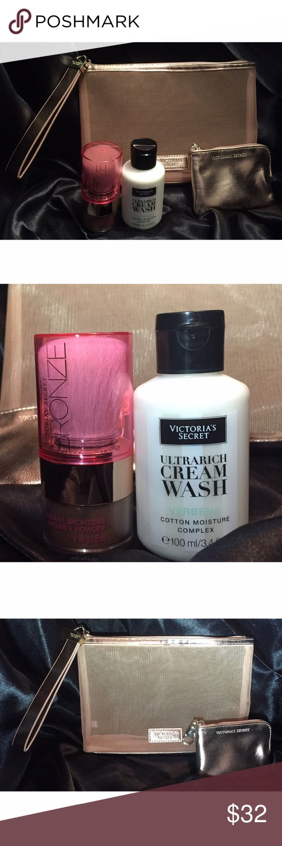 Victoria's Secret Bronzed & Beautiful Bundle Perfect for Valentine's Day! Includes: Large Zippered Cosmetic Bag, Small Gold Glitz Coin Purse, Instant Bronzing Shimmer Powder & Brush Set, & Travel Ultrarich Cream Wash in Verbena. All Brand New! Victoria's Secret Makeup Bronzer