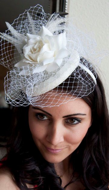 Queen Ivory Rose Couture English Hat Sinamay Birdcage Fascinator Headband for Bridal, weddings, parties, derby, special occasions. $78.00, via Etsy.