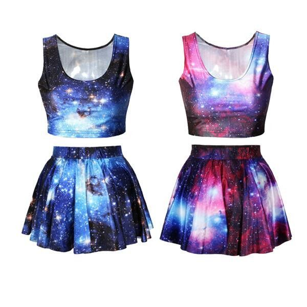 Harajuku galaxy printed vest + pleated skirt two-piece outfit SE9090
