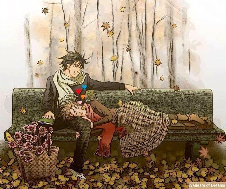 Nodame Cantabile Nodame Illustrations P 40: Couple On Bench Cartoon Illustration Via Www.Facebook.com