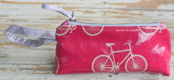 Wristlet-- Pink Bicycle by NelleBushBags on Etsy
