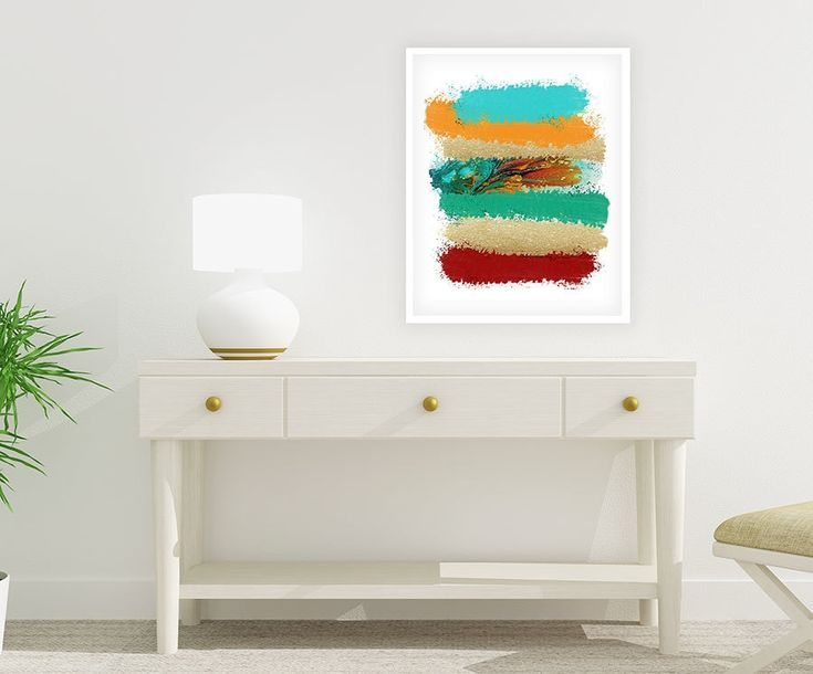 Large Colorful Digital Print, Printable Art, Red Orange Turquoise