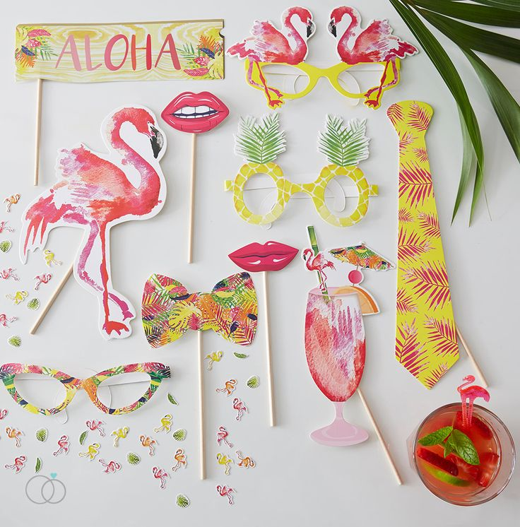 Time to fiesta!  Liven up your summer hen party photos with these tropical flamingo inspired photo props! These props are perfect for a DIY photo booth and the fun and colourful props will be a great addition to your photo and selfie fun!  Each pack contains 10 individual props made of card:  1x Tropical Tie  1x Flamingo  1x Exotic Drink  1x Quirky Bow Tie  1x Aloha sign  2x Lips  3x Decorative Glasses