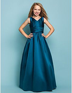 Floor-length Satin Junior Bridesmaid Dress A-line / Princess V-neck Natural with Sash / Ribbon / Criss Cross – CAD $ 97.29