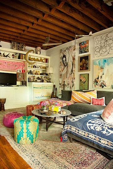 Love this artsy bohemian room in Foley + Corinna designer Anna Corinna's Brooklyn apartment!