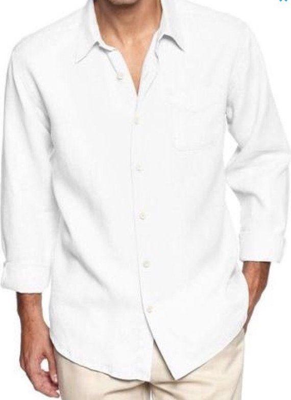 Man White Linen Shirt Beach Wedding Party Special Occasion Birthday Summer