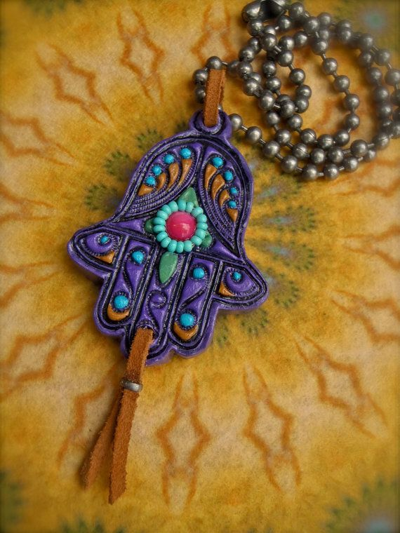 Fatima Hand HAMSA NECKLACE Purple gypsy protective jewelry ball chain statement necklace hippie bohemian hand made unique. $47.00, via Etsy.