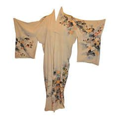 Vintage Fully Lined Silk Japanese Kimono with Floral and Gold Lame Accents