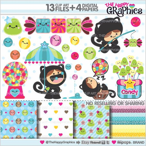 Candy Clipart Candy Graphic COMMERCIAL USE by TheHappyGraphics