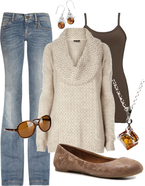 Cowl neck sweater, lace embossed ballerina flats and denim with amber jewelry accents. Fab for fall!