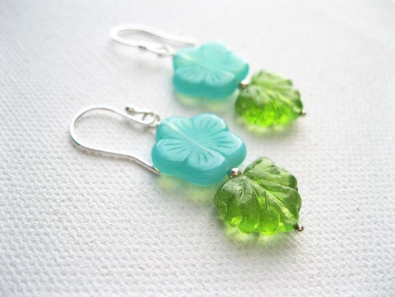 Aqua blossom & Sterling Silver Earrings  UK by blossomingsilver, £14.00
