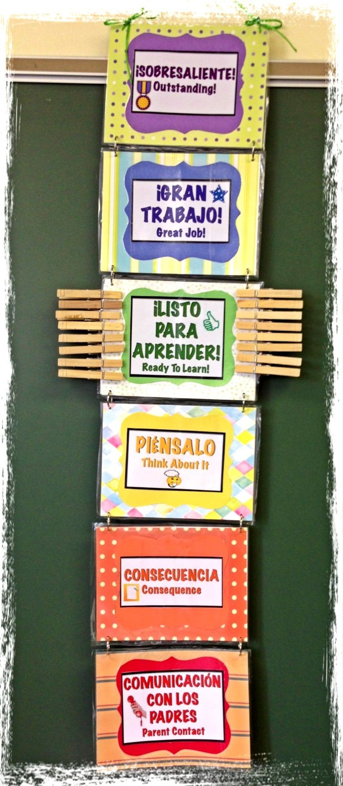 Behavior Chart for the Spanish/English bilingual classroom.. hmm maybe send a smaller version home with the Spanish students so their parents know what color stands for which behavior......???