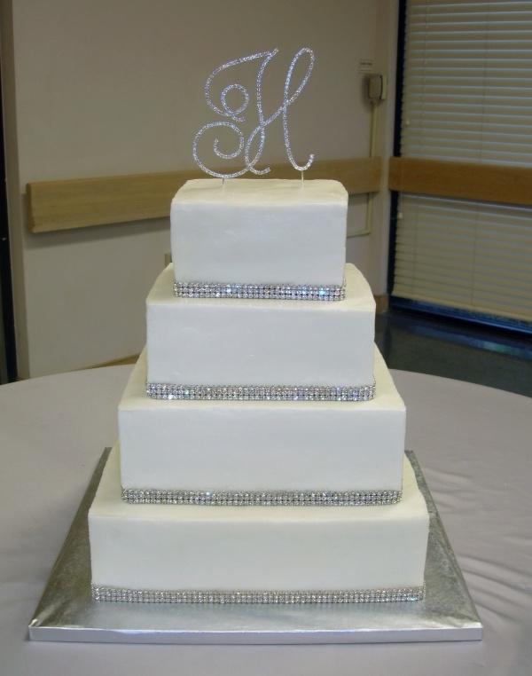 Rhinestone Wedding Cake--add a little purple ribbon?  Simple + bling