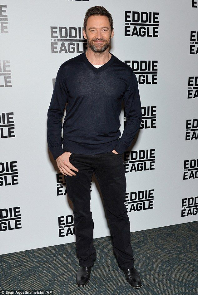 Leading lad: Hugh Jackman cut a casually cool figure as he led his Eddie the Eagle co-stars at a screening of the film in New York City on Tuesday