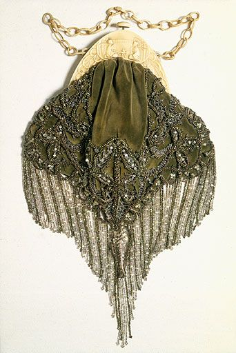 c.1920-1925 ~ Art Nouveau Velvet Beaded Purse with Deep Beaded Fringe, Metal From & Chain .... via Manchester City Galleries ....