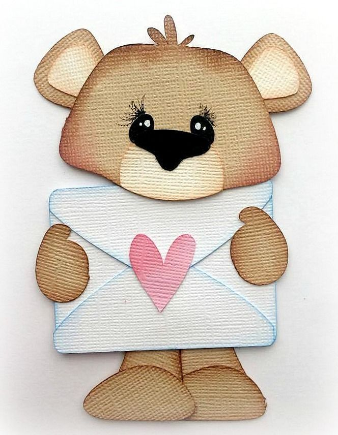 BEAR HEART ENVELOPE EMBELLISHMENT PREMADE PAPER PIECING  3D DIE CUT MYTB KIRA  #Handmade