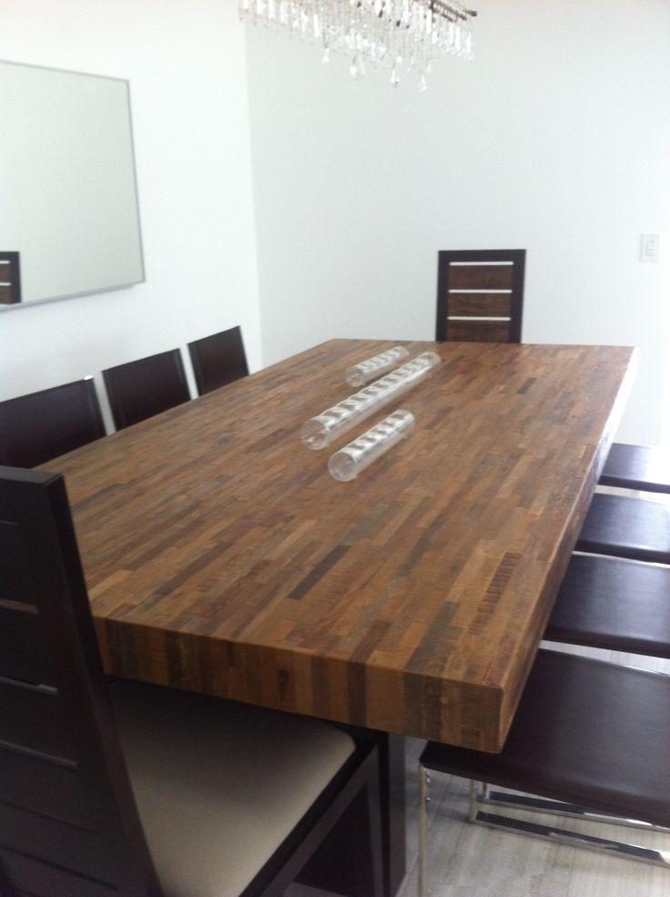Reclaimed butcher block table